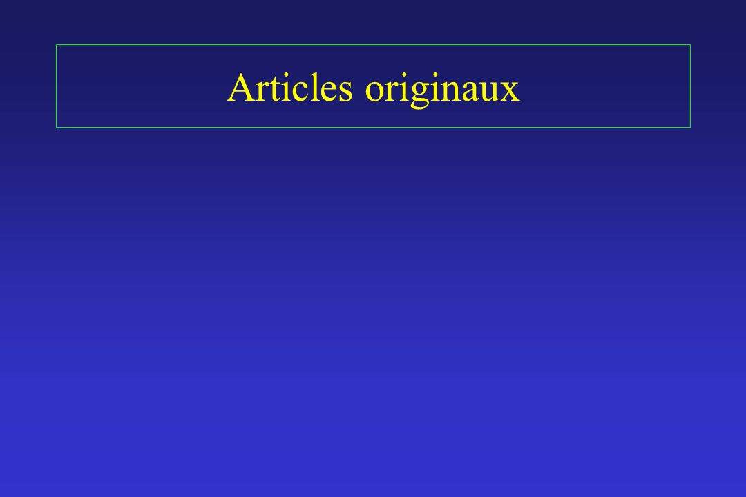 Articles originaux
