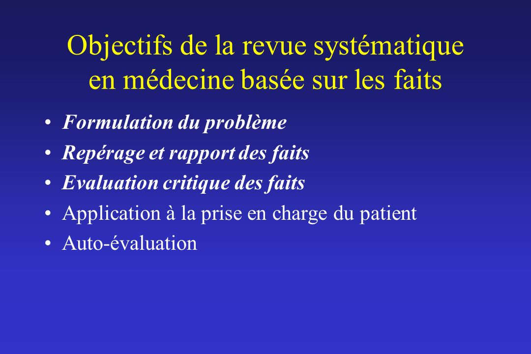 Objectifs de la revue systématique en médecine basée sur les faits