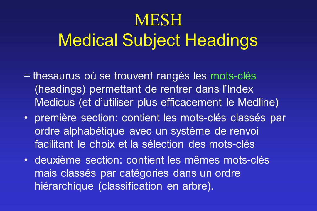 MESH Medical Subject Headings