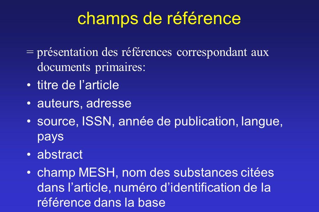 champs de référence = présentation des références correspondant aux documents primaires: titre de l'article.