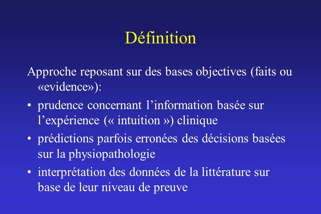 Définition Approche reposant sur des bases objectives (faits ou «evidence»):