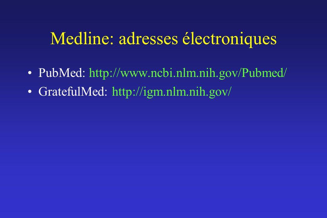 Medline: adresses électroniques