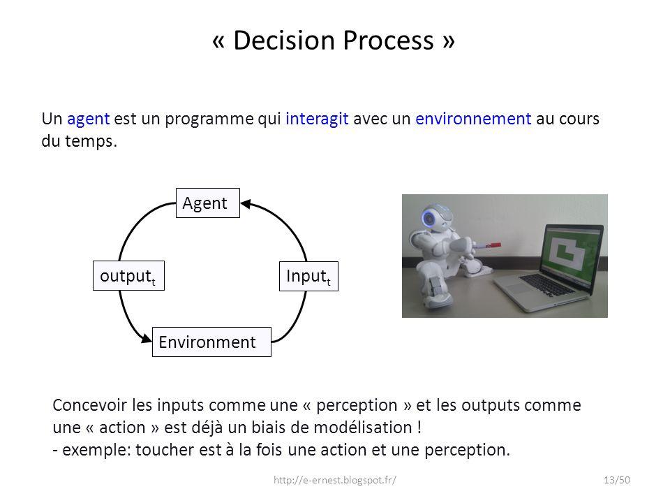 « Decision Process » Un agent est un programme qui interagit avec un environnement au cours du temps.