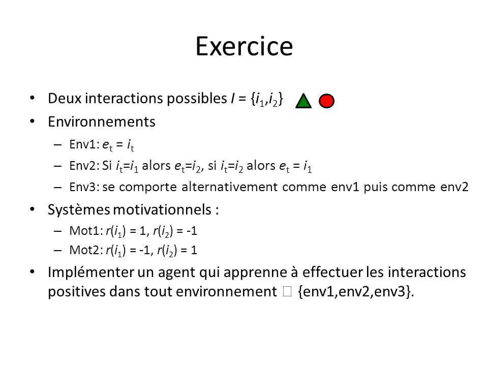 Exercice Deux interactions possibles I = {i1,i2} Environnements