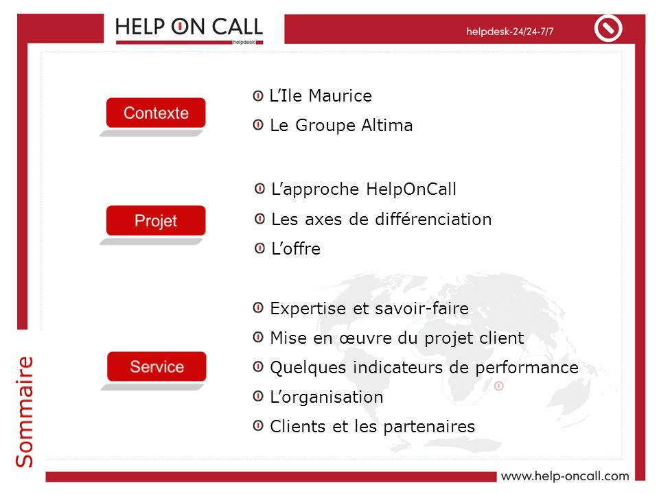 Sommaire L'Ile Maurice Le Groupe Altima Contexte L'approche HelpOnCall