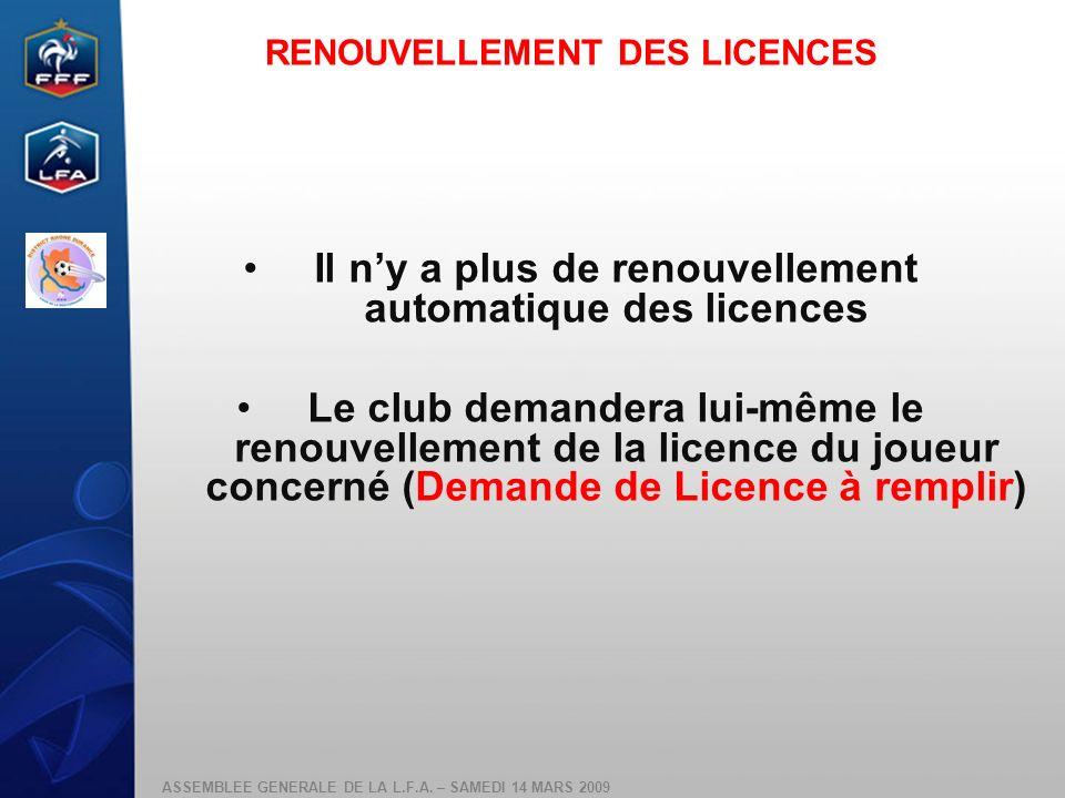 Il n'y a plus de renouvellement automatique des licences