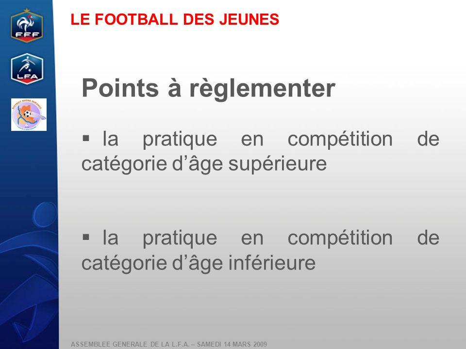 LE FOOTBALL DES JEUNES Points à règlementer. la pratique en compétition de catégorie d'âge supérieure.