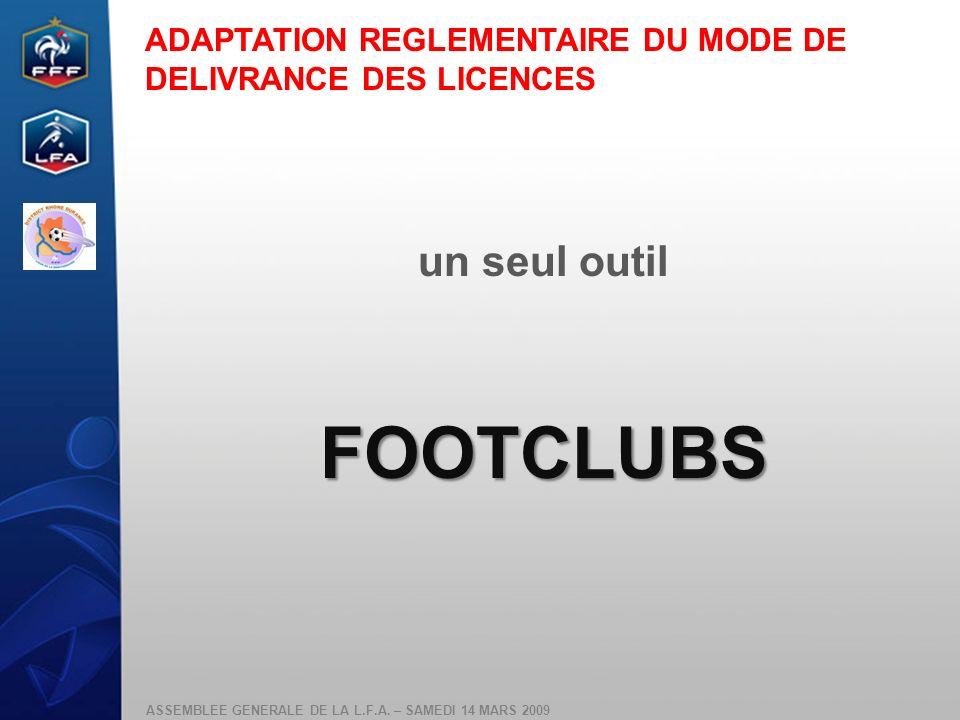 FOOTCLUBS un seul outil ADAPTATION REGLEMENTAIRE DU MODE DE
