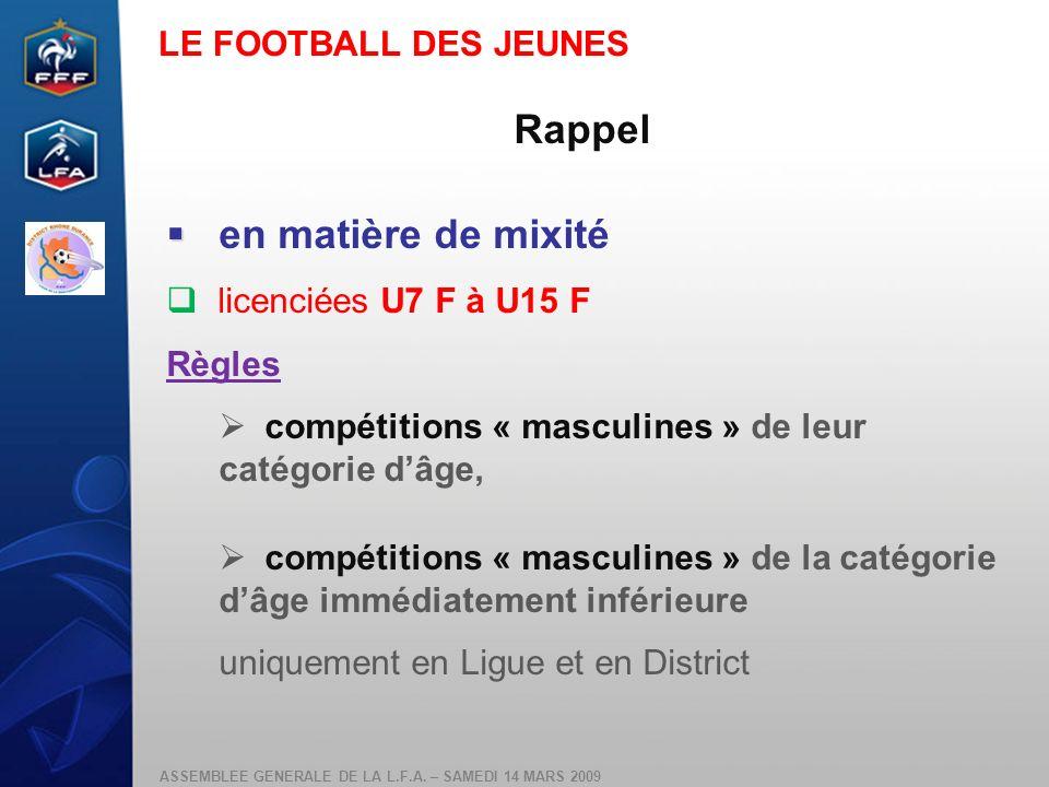 Rappel en matière de mixité LE FOOTBALL DES JEUNES