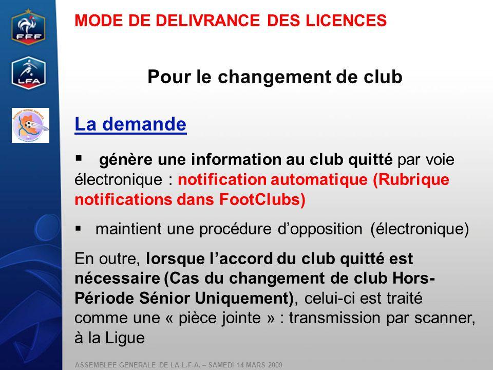 Pour le changement de club