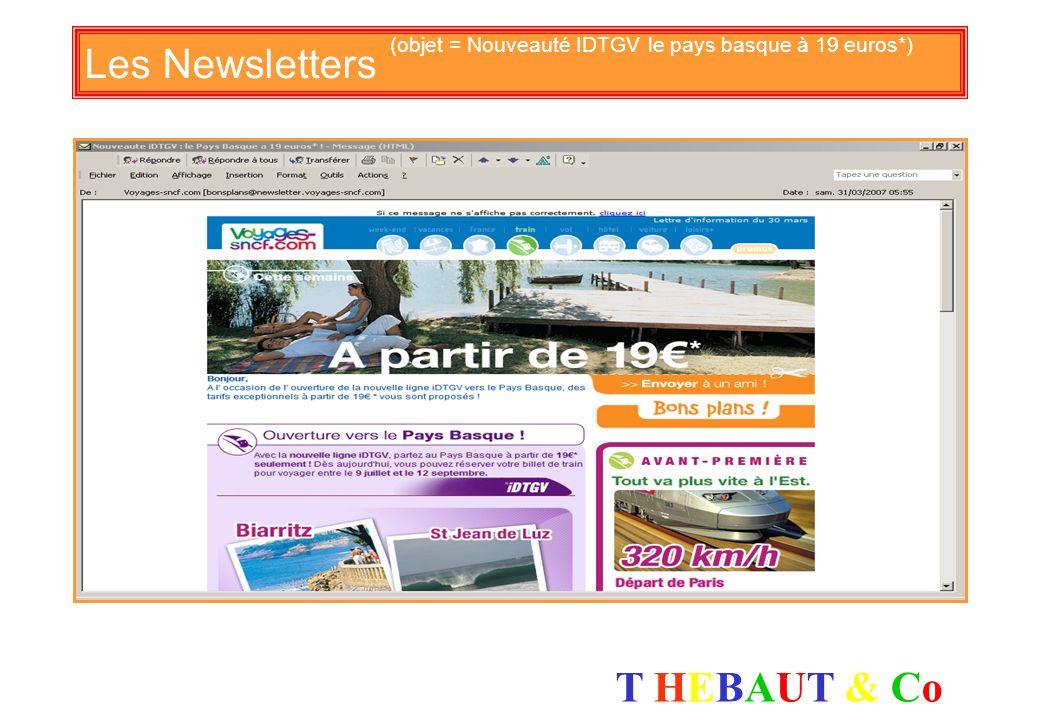 Les Newsletters (objet = Nouveauté IDTGV le pays basque à 19 euros*)