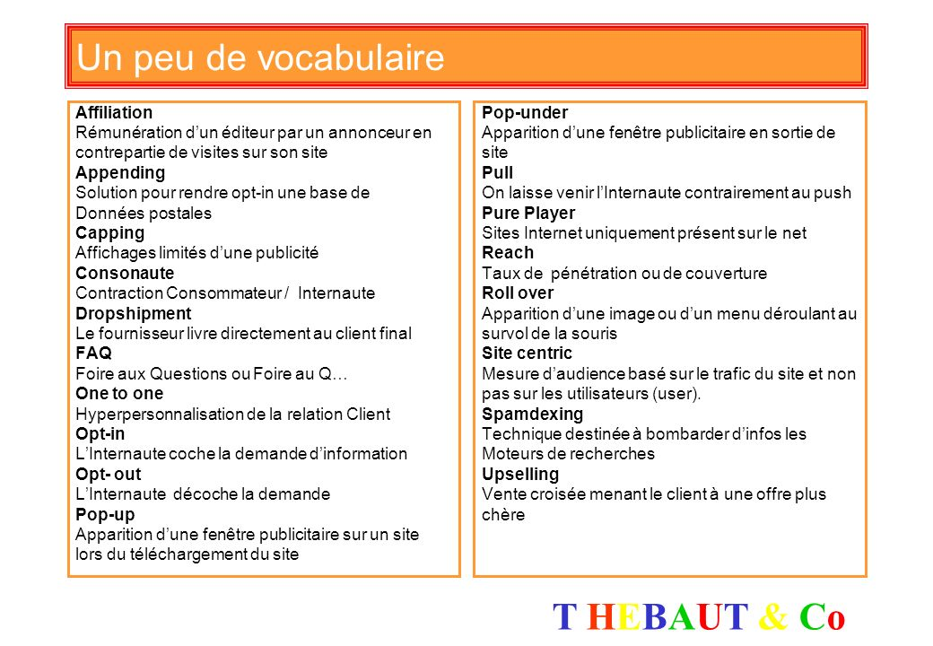 Un peu de vocabulaire Affiliation