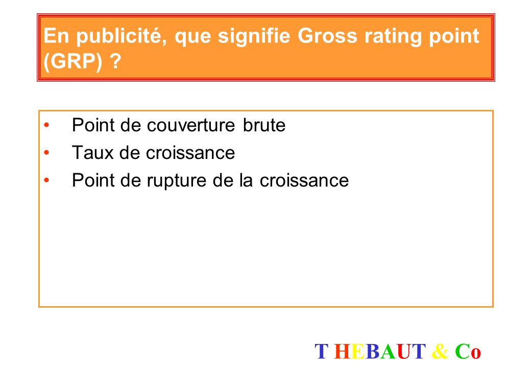 En publicité, que signifie Gross rating point (GRP)