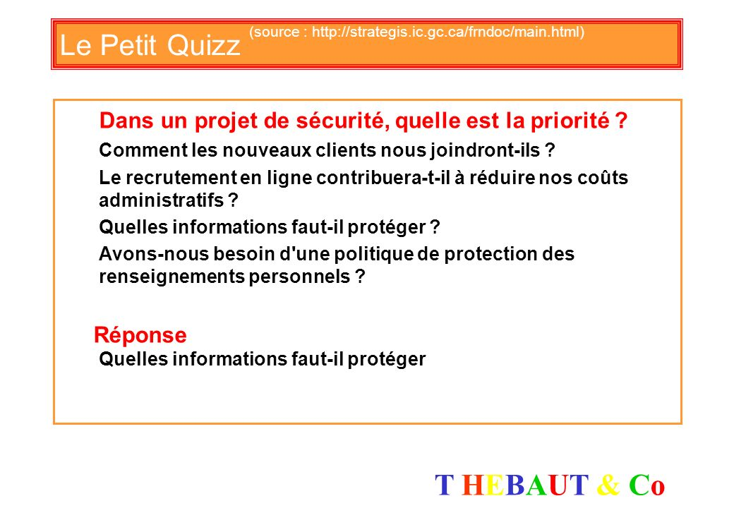 Le Petit Quizz (source : http://strategis.ic.gc.ca/frndoc/main.html)