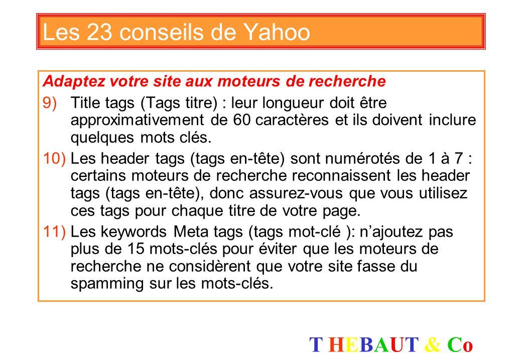 Les 23 conseils de Yahoo Adaptez votre site aux moteurs de recherche