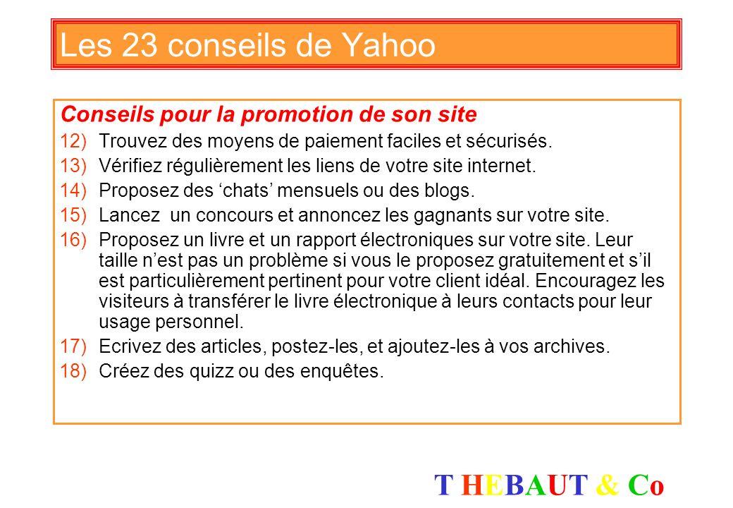 Les 23 conseils de Yahoo Conseils pour la promotion de son site