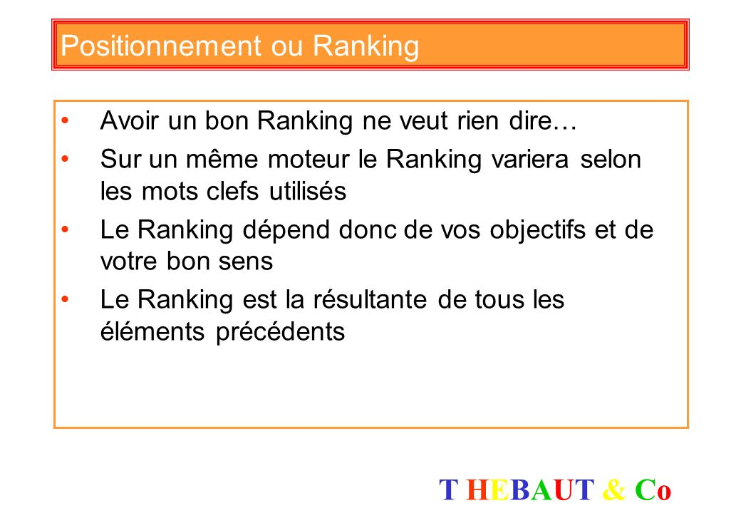 Positionnement ou Ranking
