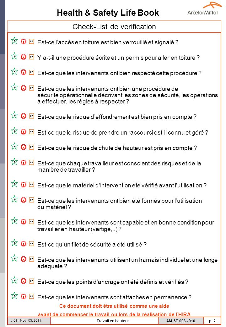 Check-List de verification