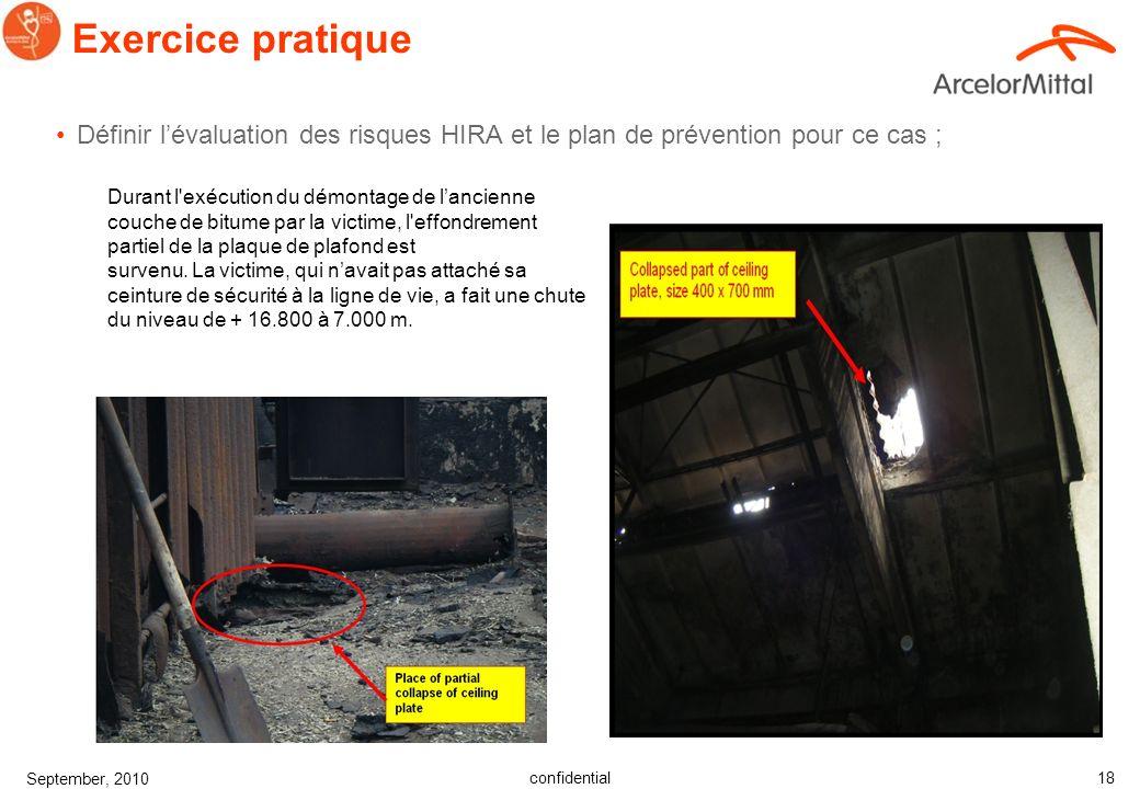 Exercice pratiqueDéfinir l'évaluation des risques HIRA et le plan de prévention pour ce cas ;