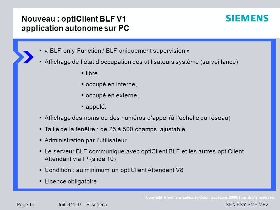 Nouveau : optiClient BLF V1 application autonome sur PC