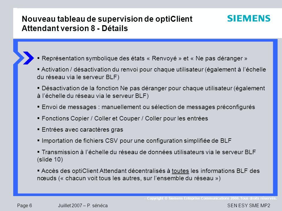 Nouveau tableau de supervision de optiClient Attendant version 8 - Détails