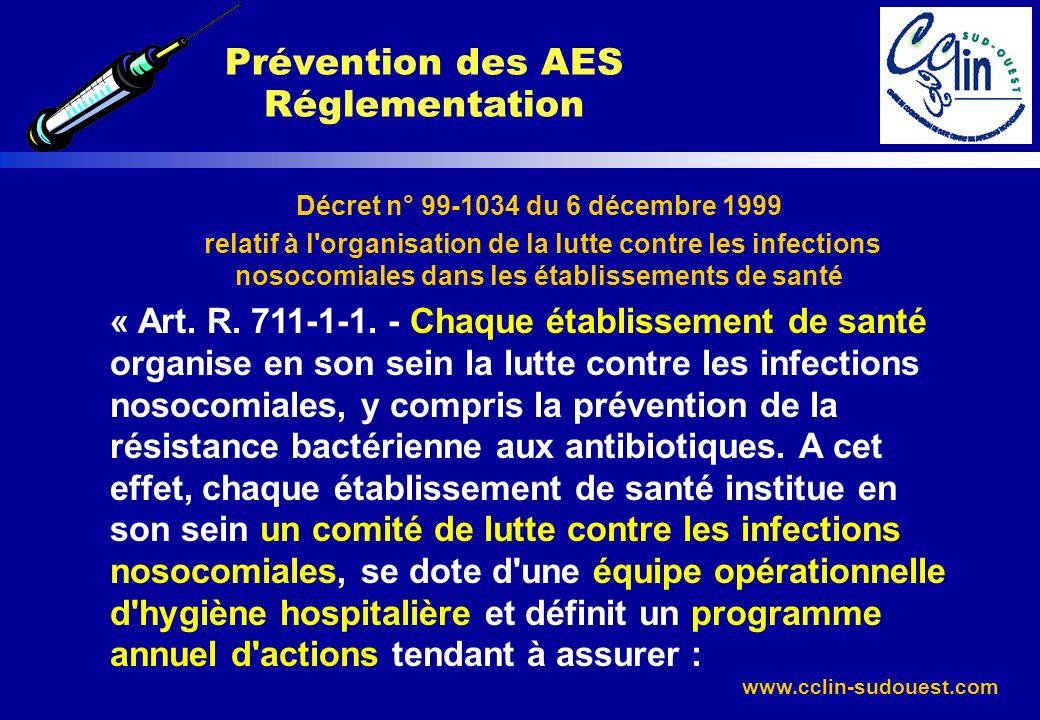Prévention des AES Réglementation