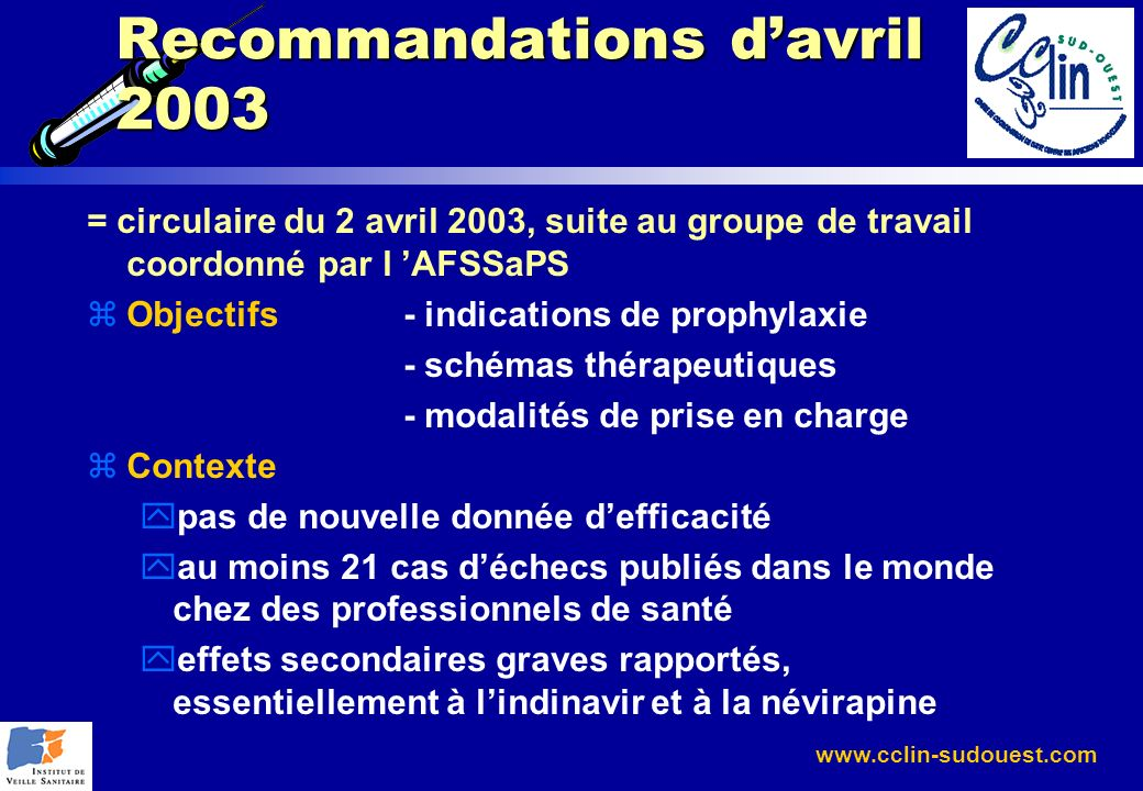 Recommandations d'avril 2003