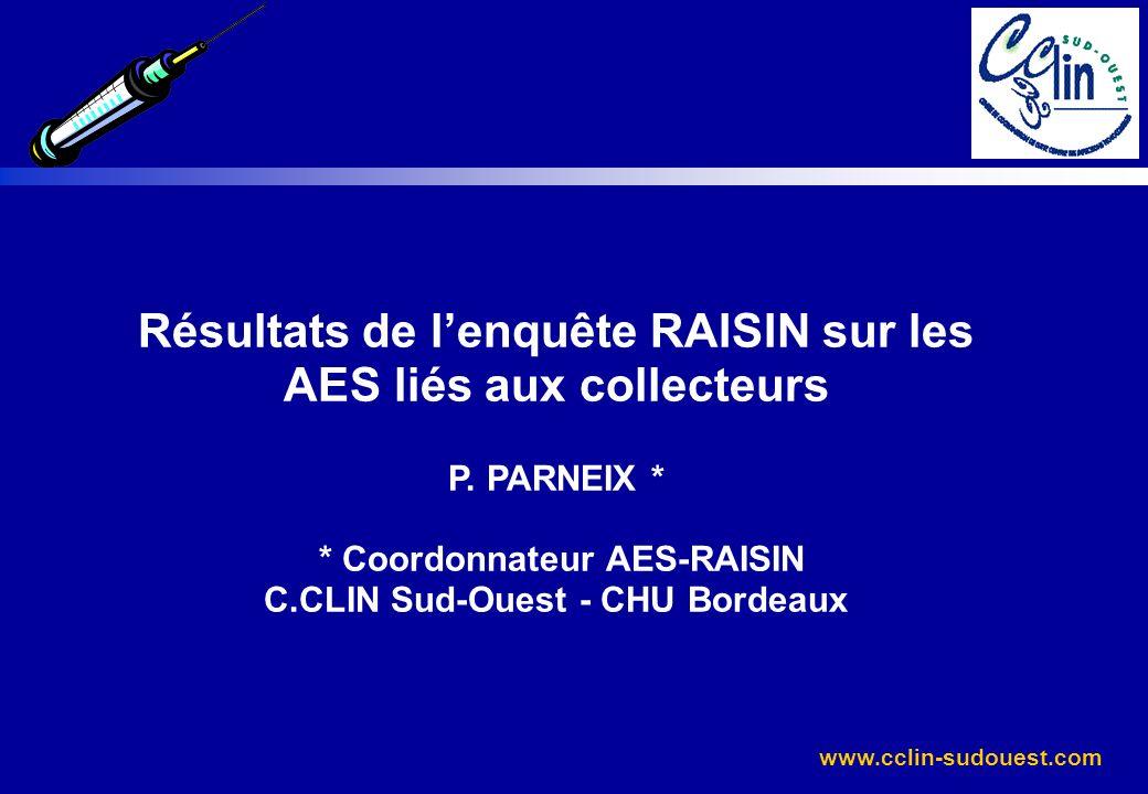 Résultats de l'enquête RAISIN sur les AES liés aux collecteurs P