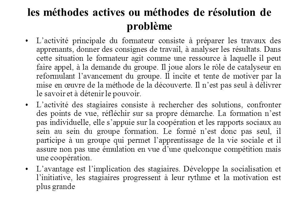 les méthodes actives ou méthodes de résolution de problème