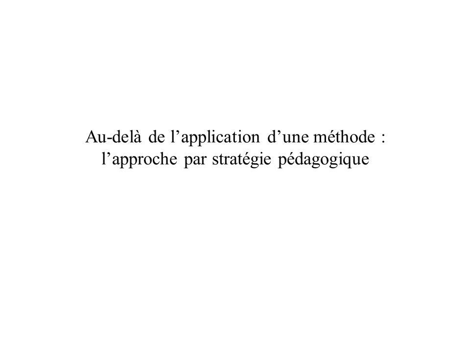 Au-delà de l'application d'une méthode : l'approche par stratégie pédagogique