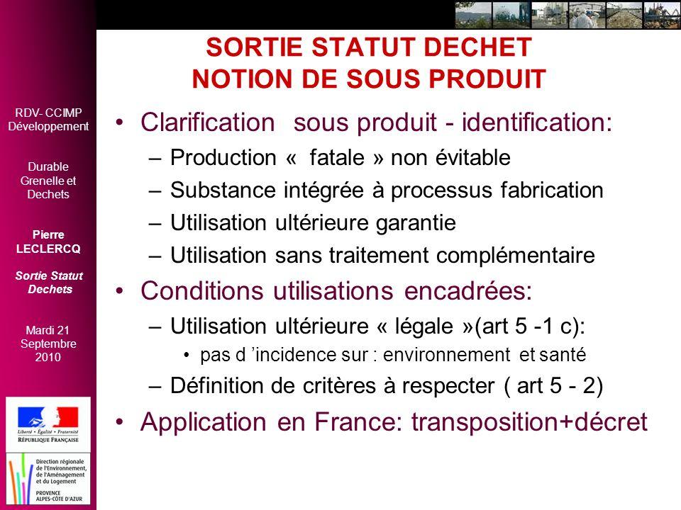 SORTIE STATUT DECHET NOTION DE SOUS PRODUIT