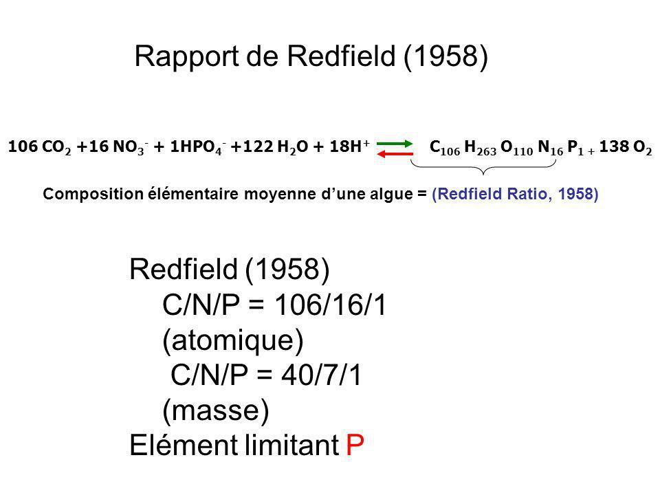 Composition élémentaire moyenne d'une algue = (Redfield Ratio, 1958)