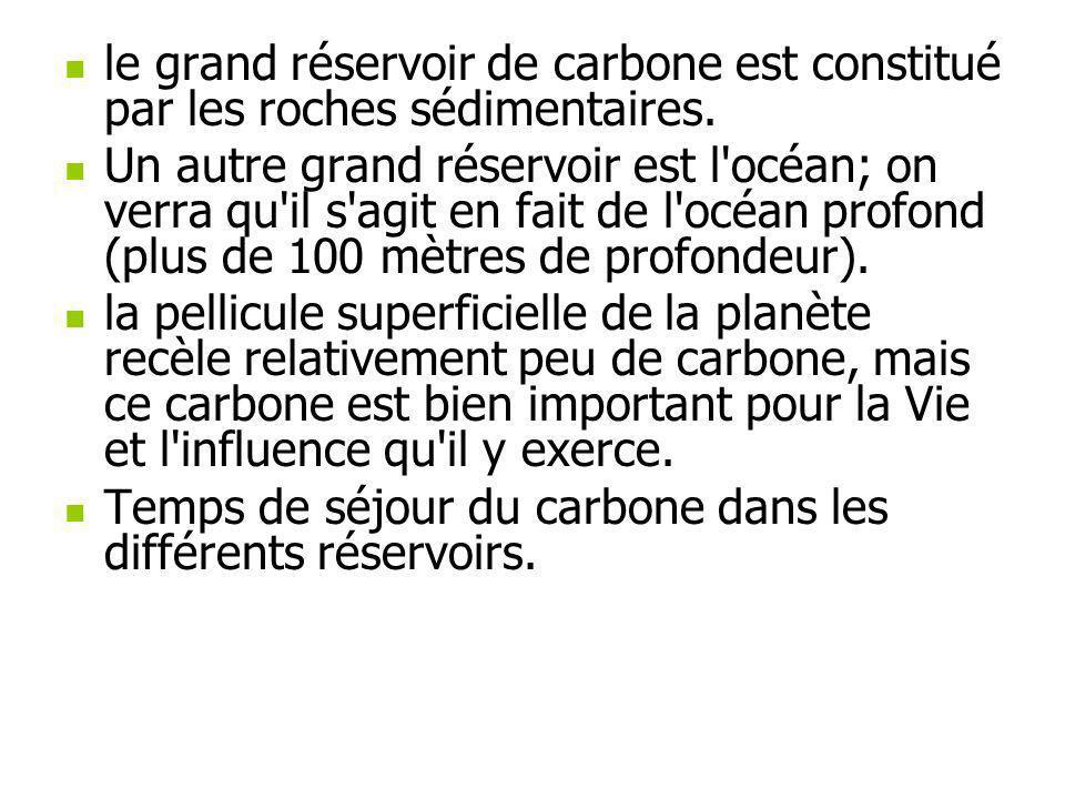 le grand réservoir de carbone est constitué par les roches sédimentaires.