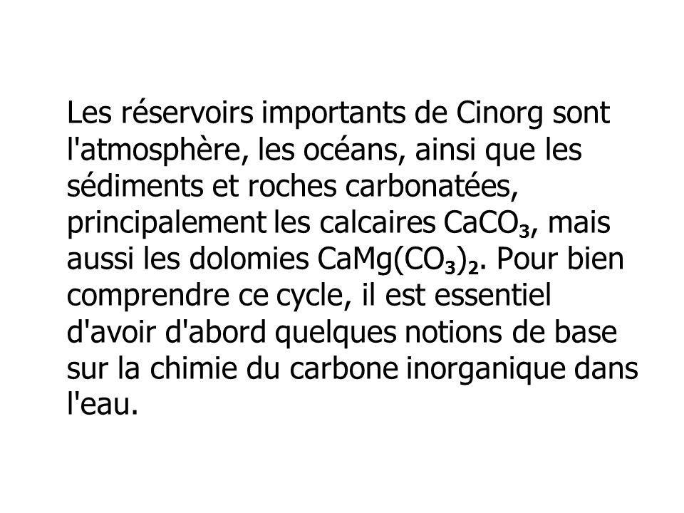 Les réservoirs importants de Cinorg sont l atmosphère, les océans, ainsi que les sédiments et roches carbonatées, principalement les calcaires CaCO3, mais aussi les dolomies CaMg(CO3)2.