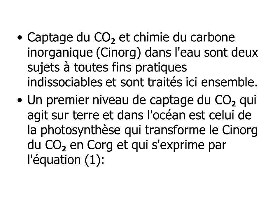 Captage du CO2 et chimie du carbone inorganique (Cinorg) dans l eau sont deux sujets à toutes fins pratiques indissociables et sont traités ici ensemble.
