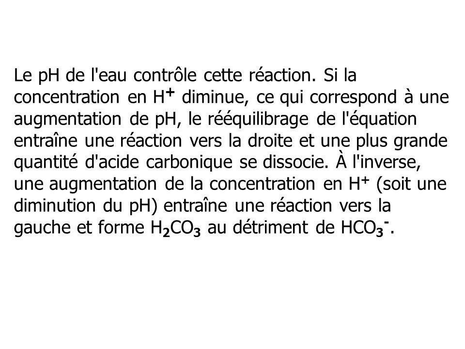 Le pH de l eau contrôle cette réaction