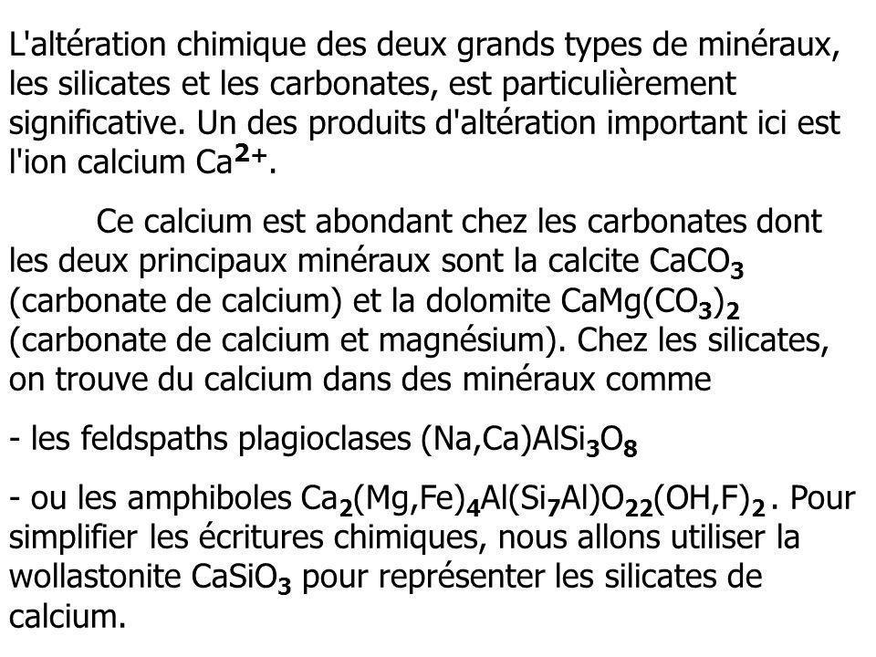 L altération chimique des deux grands types de minéraux, les silicates et les carbonates, est particulièrement significative. Un des produits d altération important ici est l ion calcium Ca2+.