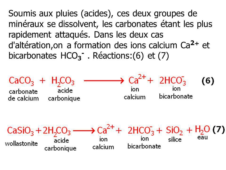 Soumis aux pluies (acides), ces deux groupes de minéraux se dissolvent, les carbonates étant les plus rapidement attaqués.