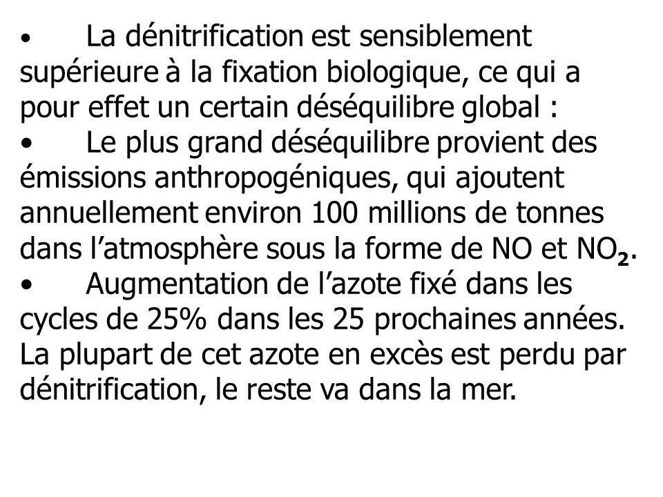 La dénitrification est sensiblement supérieure à la fixation biologique, ce qui a pour effet un certain déséquilibre global :