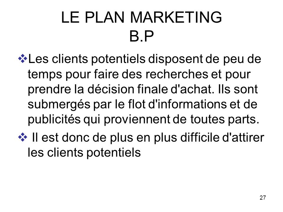 LE PLAN MARKETING B.P