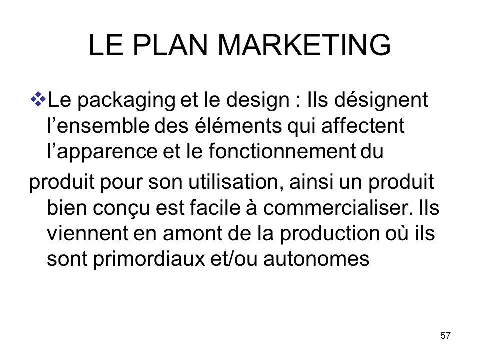 LE PLAN MARKETING Le packaging et le design : Ils désignent l'ensemble des éléments qui affectent l'apparence et le fonctionnement du.
