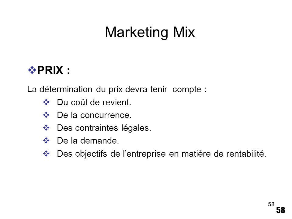 Marketing Mix PRIX : La détermination du prix devra tenir compte :