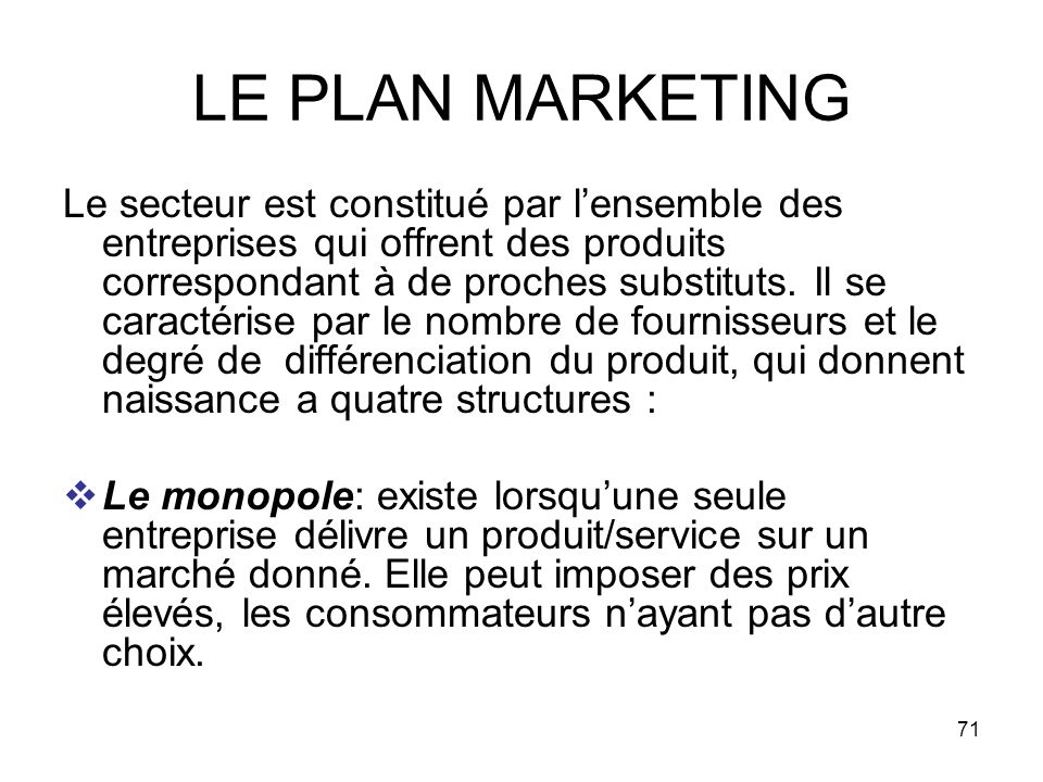 LE PLAN MARKETING
