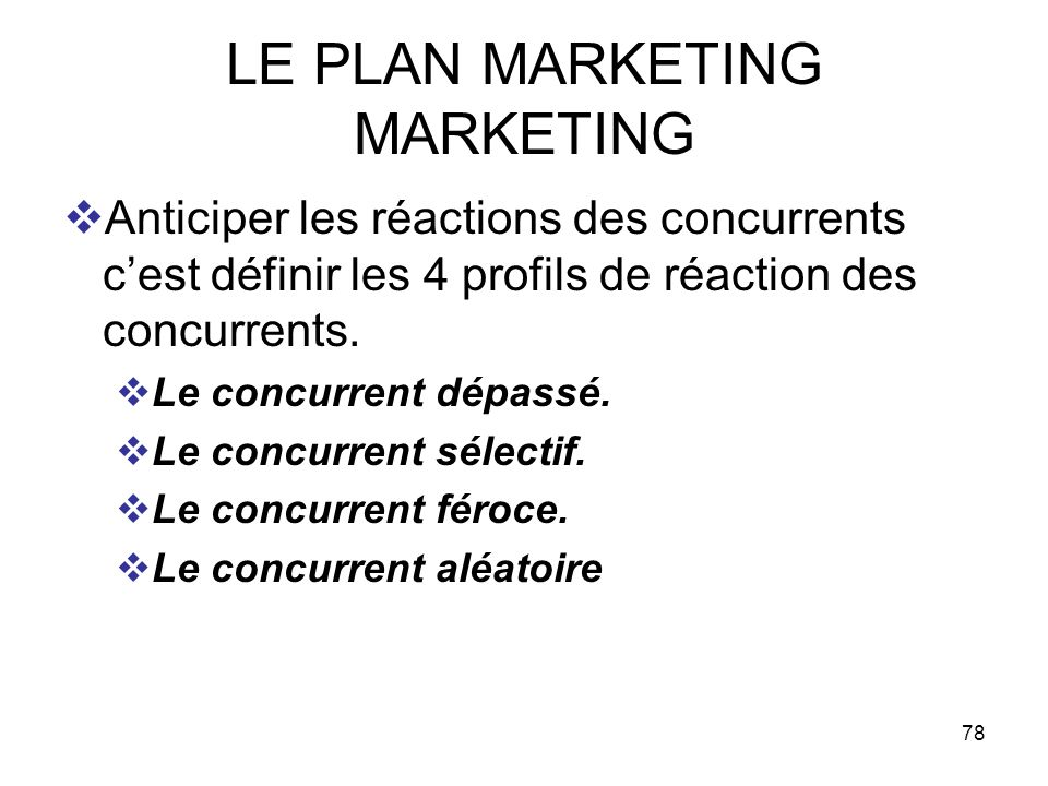 LE PLAN MARKETING MARKETING