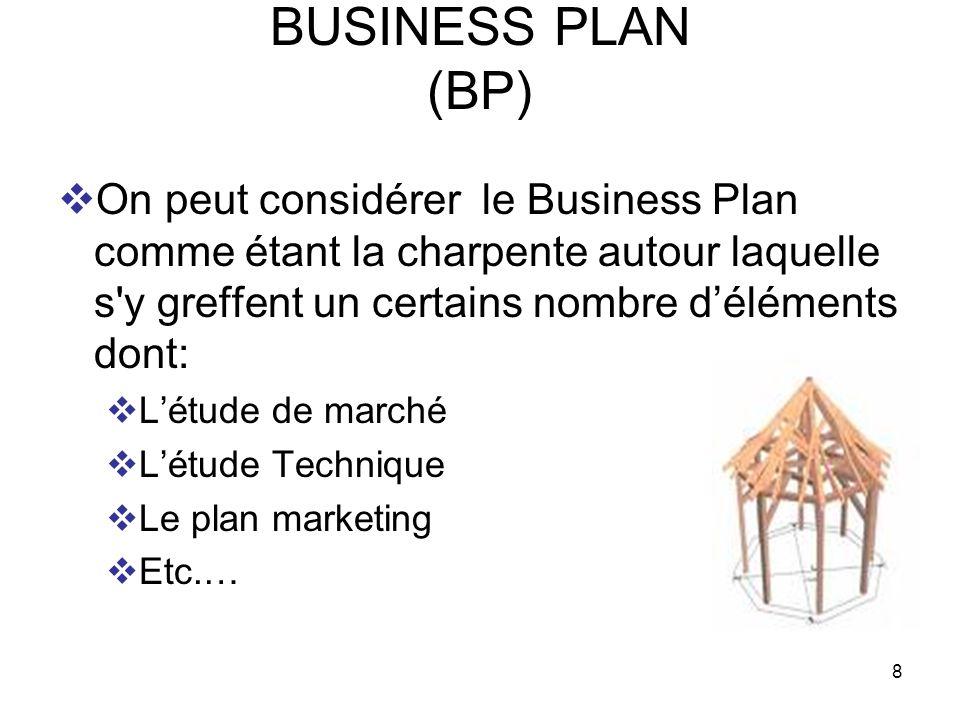 BUSINESS PLAN (BP) On peut considérer le Business Plan comme étant la charpente autour laquelle s y greffent un certains nombre d'éléments dont: