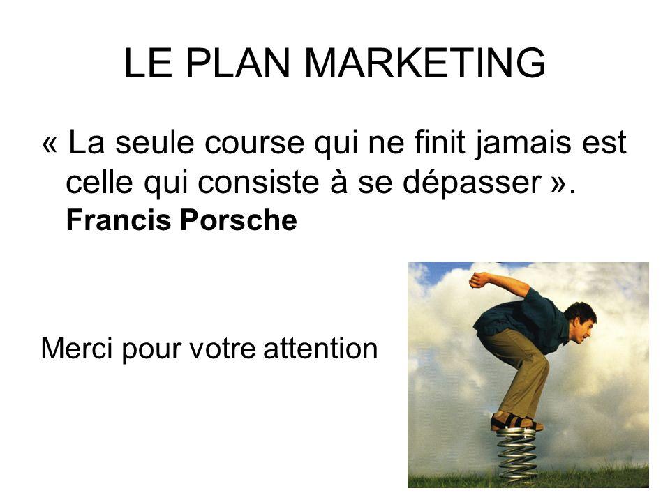 LE PLAN MARKETING « La seule course qui ne finit jamais est celle qui consiste à se dépasser ». Francis Porsche.