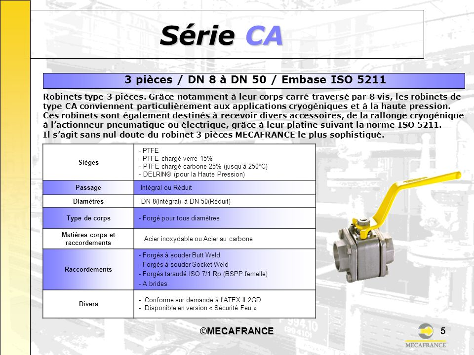 3 pièces / DN 8 à DN 50 / Embase ISO 5211