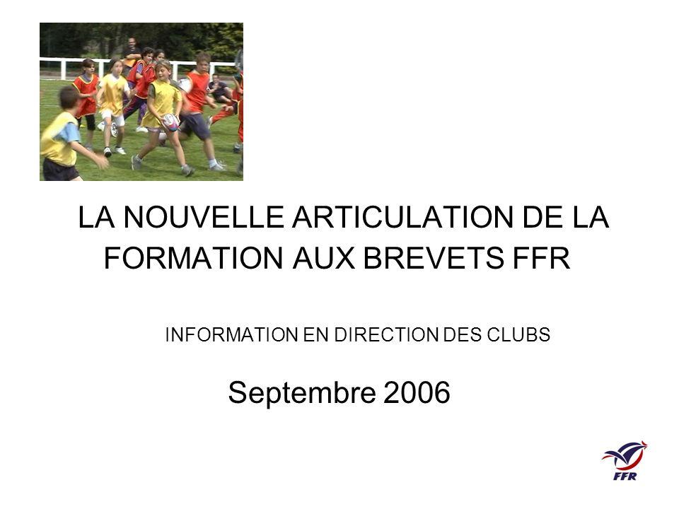 LA NOUVELLE ARTICULATION DE LA FORMATION AUX BREVETS FFR INFORMATION EN DIRECTION DES CLUBS