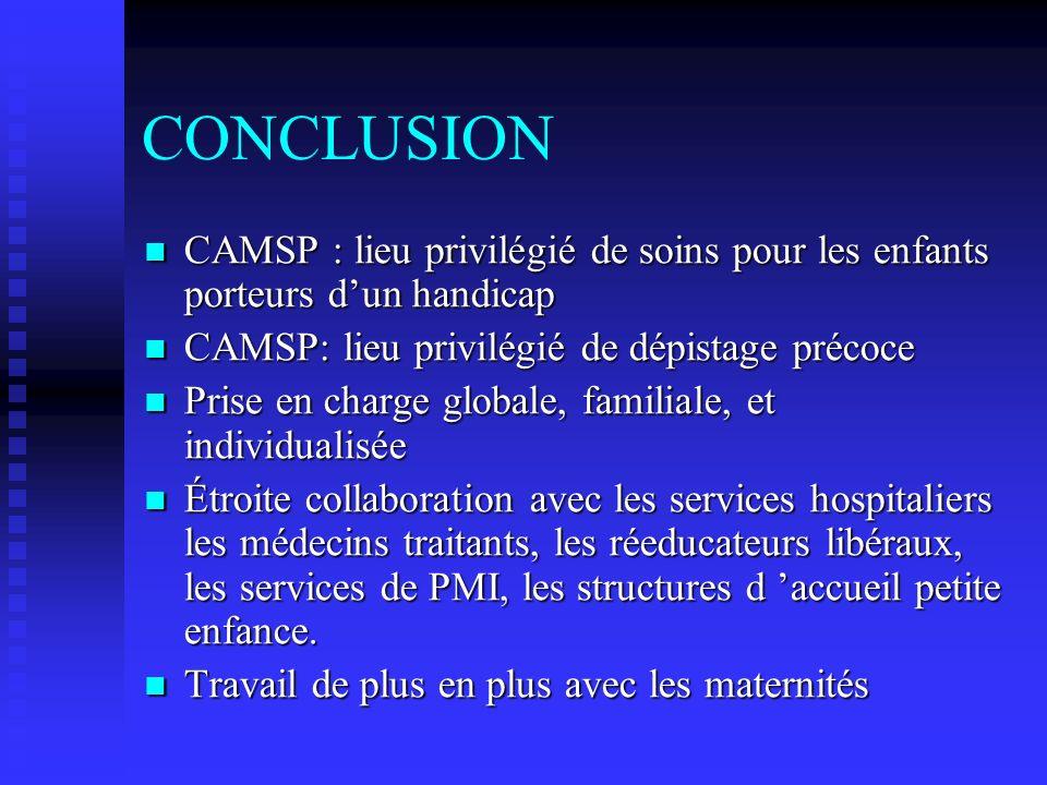 CONCLUSION CAMSP : lieu privilégié de soins pour les enfants porteurs d'un handicap. CAMSP: lieu privilégié de dépistage précoce.