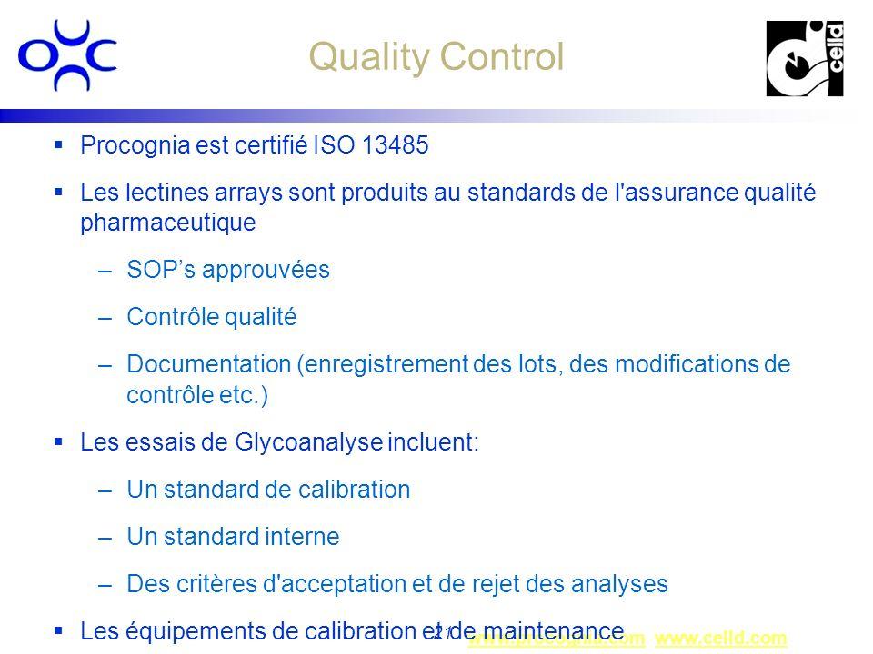 Quality Control Procognia est certifié ISO 13485